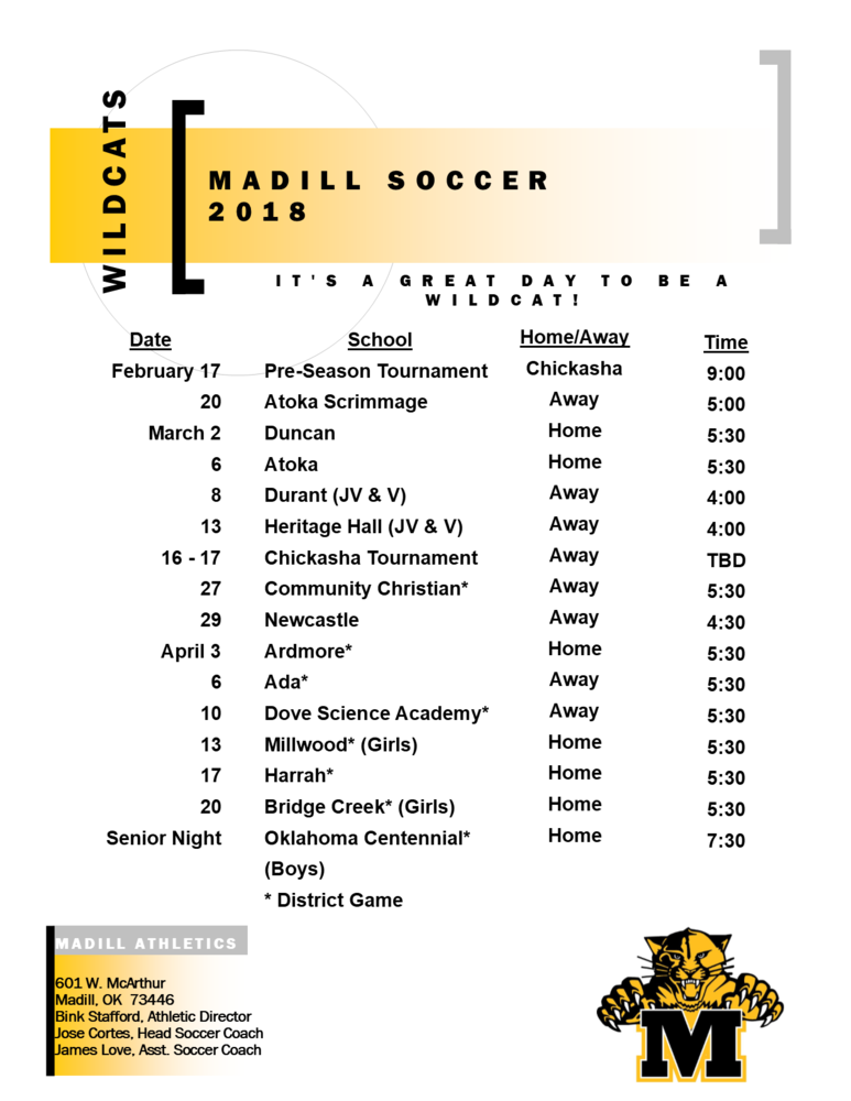 Madill Releases Soccer Schedule for 2018
