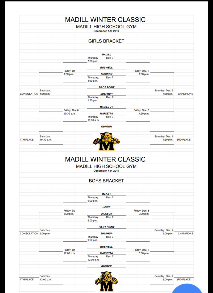 Madill Winter Classic Bracket Filled Out for Dec. 7-9