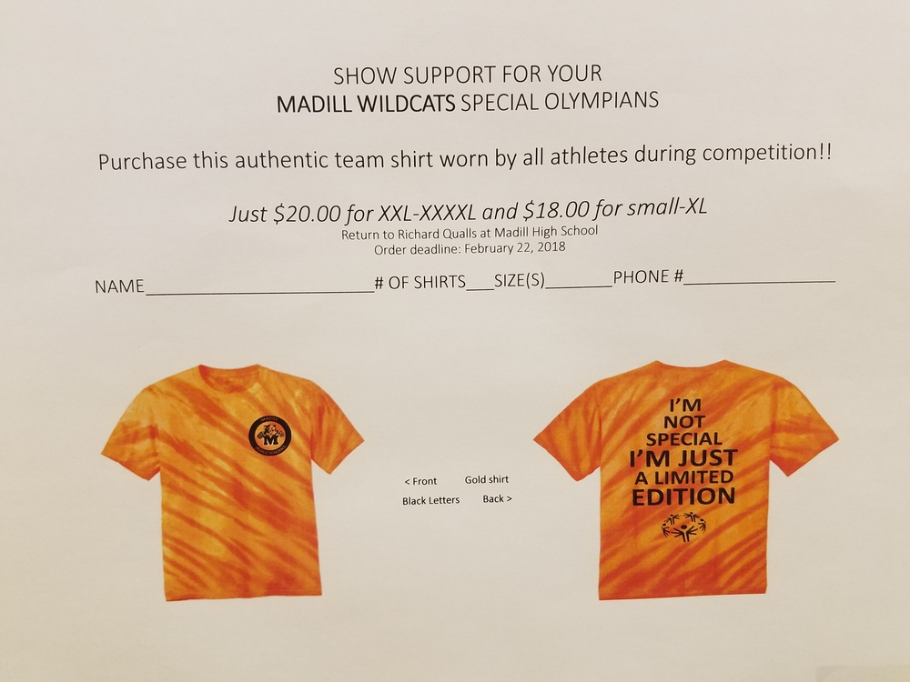 Fans May Purchase Shirt in Support of Local Special Olympians